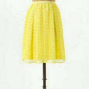 Anthropologie Maeve Yellow Lace Skirt Size 6